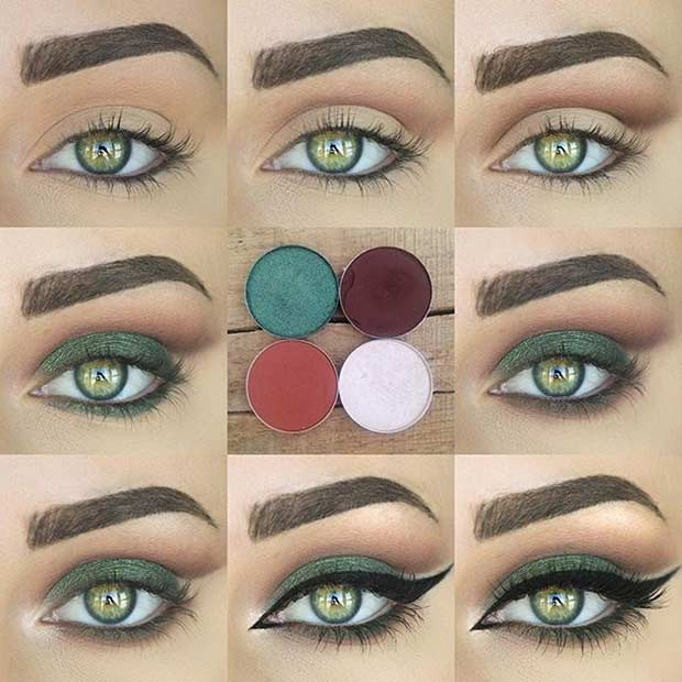 Sexy eye makeup for green eyes