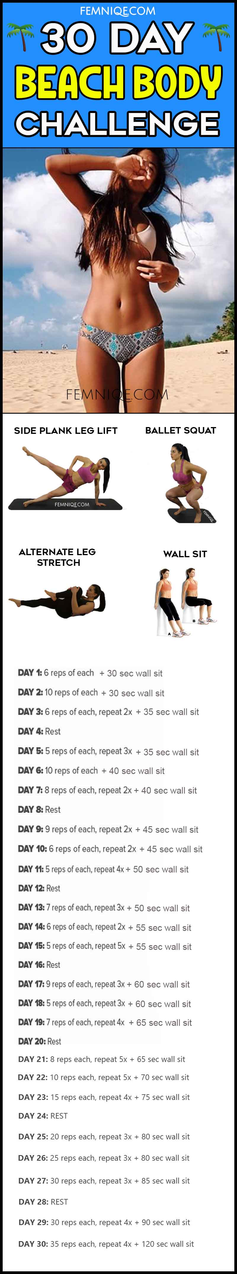 try this 30 day beach body challenge for summer hotness femniqe