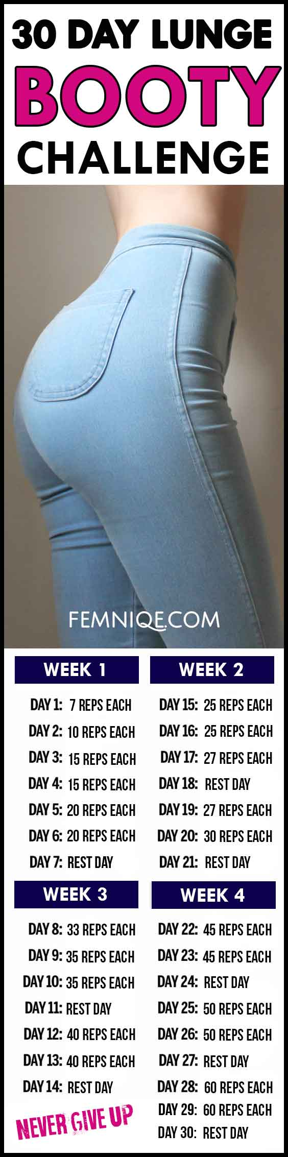 30 Day Lunge Challenge For Booty and Thighs - Femniqe