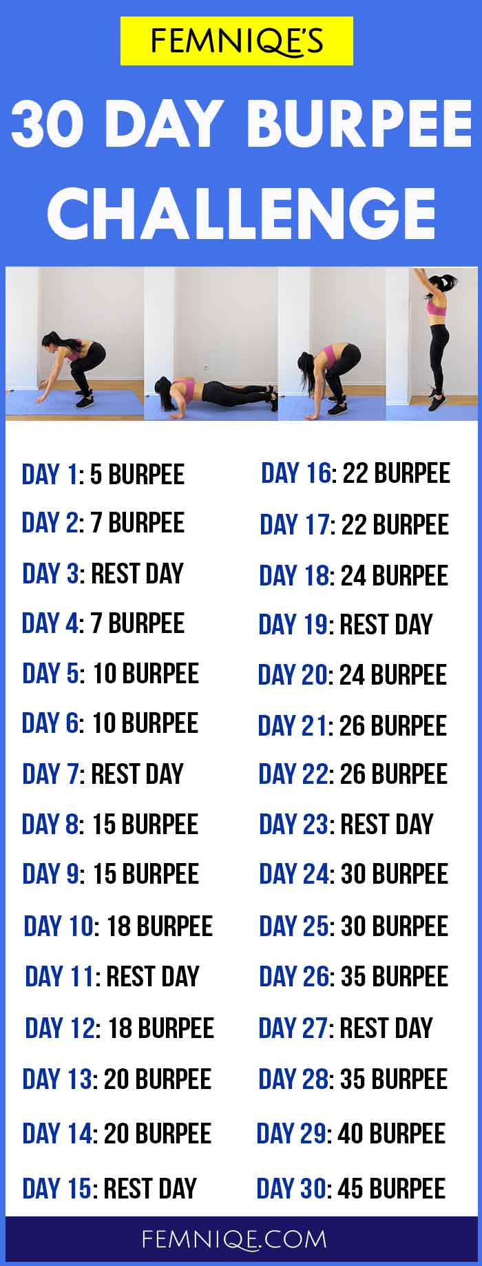 30 day burpee challenge the fat burning machine femniqe. Black Bedroom Furniture Sets. Home Design Ideas