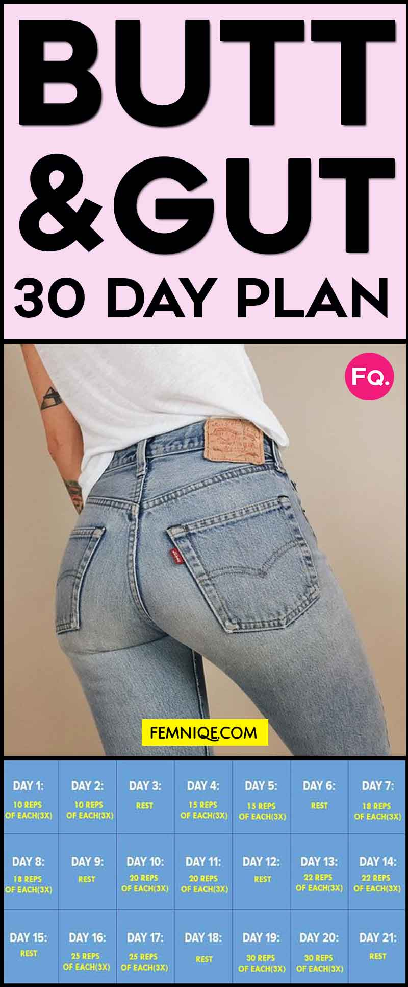 30 Day Ab And Butt Workout Challenge Body Shaper Femniqe