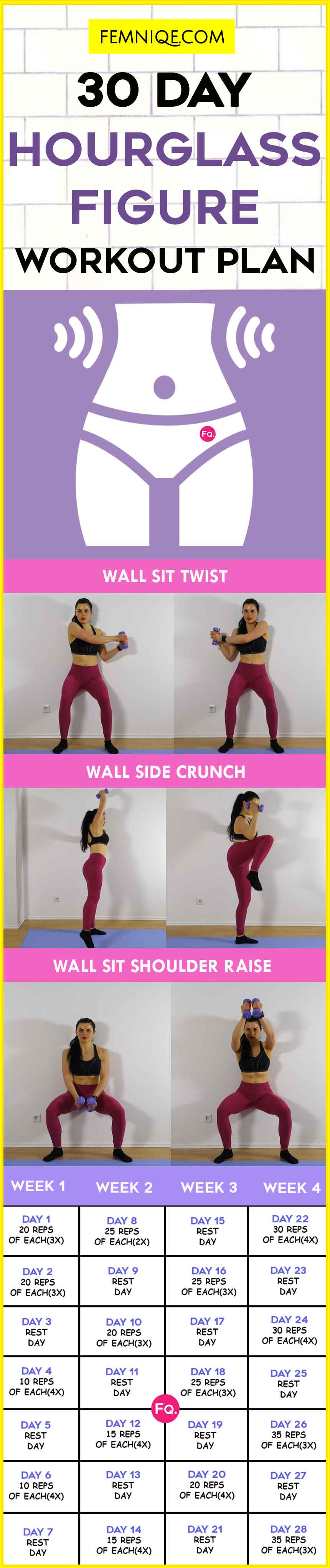 30 Day Hourglass Figure Workout (Smaller Waist & Bigger Butt) – Femniqe