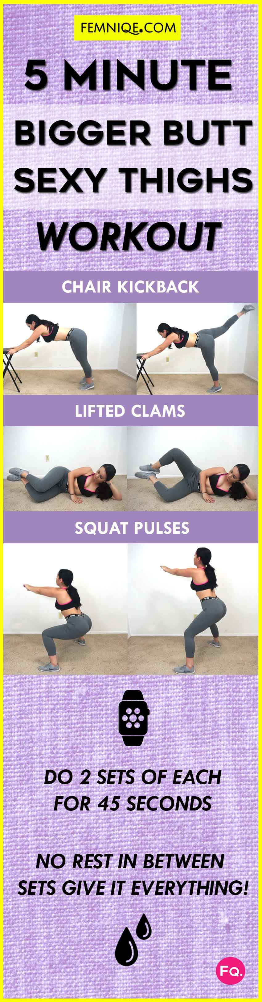 5 Minute Bigger Butt and Thigh Workout CHART