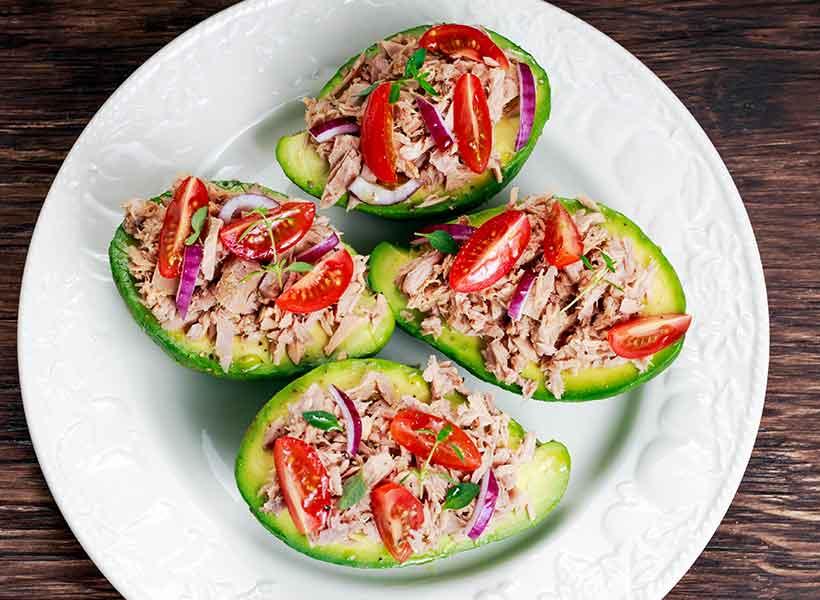 Spicy Avocado Tuna Boats